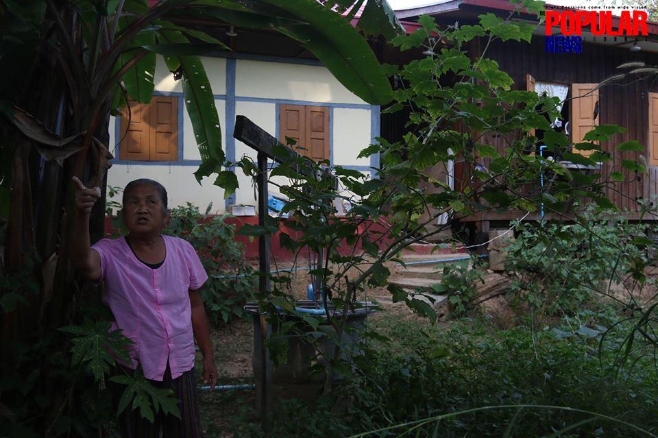 ကယားျပည္နယ္၀န္ၾကီးခ်ဳပ္ ဦးအယ္ေဖာင္းရိွဳ၏ မိခင္ျဖစ္သူ ေဒၚသိန္းတင္က အျငင္းပြားေျမေနရာအတြင္း မီဒီယာမ်ားကို လိုက္လံရွင္းျပေနစဥ္